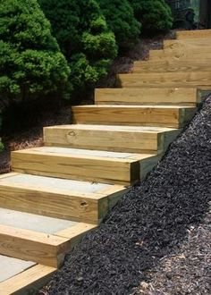 DIY Outdoor Staircase diy outdoor staircase decks outdoor living patio stairs The post DIY Outdoor Staircase appeared first on Outdoor Diy. Outside Stairs, Patio Stairs, Garden Stairs, Front Stairs, Hillside Landscaping, Outdoor Landscaping, Outdoor Gardens, Landscaping Ideas, Outdoor Living Patios