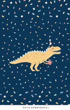Dinosaur Posters, Dinosaur Art, Cute Dinosaur, Birthday Greetings, Birthday Wishes, Happy Birthday Kids, Birthday Invitations, Retro Logos, Vintage Logos