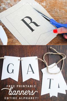 Vintage Decor Diy Free printable letters to create any vintage farmhouse style banner- make your own bunting flags for holiday, birthday parties, and everydayhome decor Deco Baby Shower, Baby Showers, Vintage Banner, Vintage Decor, Diy Banner, Pennant Banner Template, Free Banner, Pennant Banners, Diy Bunting Flags