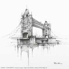 Wave Drawing, City Drawing, Architecture Drawing Art, Architecture Design, Tower Bridge London, Building Sketch, Web Gallery, Urban Sketching, Less Is More