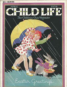 1936 Child Life Magazine Superb Cover Art Easter Bunny Rabbit Janet Laura Scott | eBay