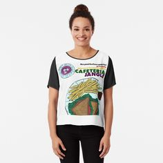 'Paul Bufano Cafeteria Jangle' Chiffon Top by richwear Chiffon Tops, Printed, Awesome, Fabric, People, Sleeves, Mens Tops, T Shirt, Products