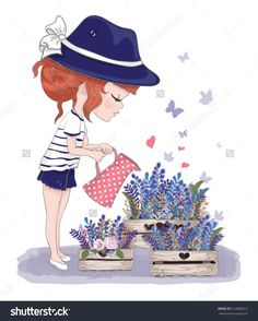 Cute girl with flowers.Children illustration for School books and more. Separate Objects.T-shirt graphic.cartoon character.girl blowing butterflies.By Şenay Kurtuluş