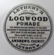Letherby Logwood hair pomade pot lid . Andrews chemist London Pot Lights, Hair Pomade, Ginger Beer, Chemist, Beer Bottle, Crock, Stoneware, Pots, Bottles