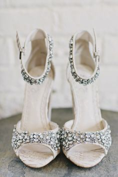 wedding shoe bling, photo by Clean Plate Pictures http://ruffledblog.com/stylish-green-building-wedding #weddingshoes #shoes