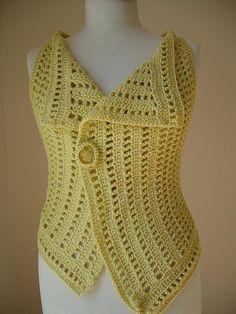 Yellow crocheted vest