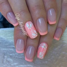 51 Special Summer Nail Designs For Classy Look 16 Cruise Nails, Vacation Nails, Pretty Nail Colors, Pretty Nails, Nail Art Diy, Diy Nails, French Nails, Luminous Nails, Gel Nagel Design