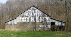 "Tennessee barn...when we'd go on vacation in the 60s w/my parents, we'd see these signs everywhere, painted on everything. My dad even had a cardboard sign hanging in his garage with ""See Rock City"" on it."