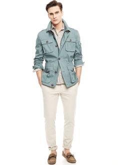 Cotton-blend field jacket #menswear #ss14