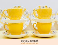 Sunshine Check Tea Set - Buy yay retro Handmade Crochet online - Arts & Crafts Shop, crochet shawls, wraps, blankets, hot water bottle covers and vintage textile cushions. Craft Shop, Vintage Textiles, Vintage China, Tea Set, Cup And Saucer, Tea Cups, Sunshine, Things To Come, Plates