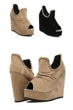 ba5efa3e881d GrabMyLook Suede Leather Open Toe U Chain Punk Rock Wedges Platforms High  Heels Shoes Platform High