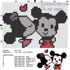 Minnie and Mickey Mouse kiss free disney cross stitch pattern 7 colors - free cross stitch patterns by Alex Tiny Cross Stitch, Beaded Cross Stitch, Crochet Cross, Cross Stitch Charts, Cross Stitch Embroidery, Disney Stitch, Mickey Mouse, Alice In Wonderland Cross Stitch, Disney Cross Stitch Patterns