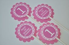 12 Cupcake Toppers - Girl's 1st Birthday Party Polkadots Pink and White - Personalized. $10.00, via Etsy.