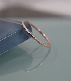 14k SOLID Rose Gold Thin Round Simple by tinysparklestudio, $46.00