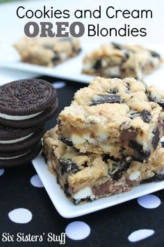 Cookies and Cream Oreo Blondies Recipe on MyRecipeMagic.com
