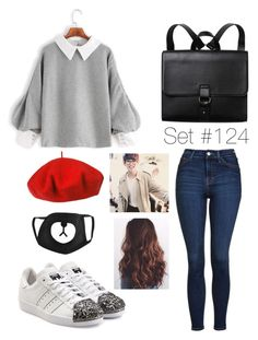 """A Day Out With Taehyung//Collab"" by emma-natalie ❤ liked on Polyvore featuring Monki, Betmar, adidas Originals and Topshop"