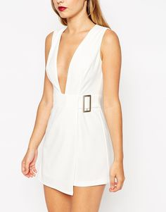 Image 3 ofASOS Premium Origami Plunge Playsuit with Side Buckle