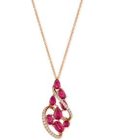 ) Pendant Necklace in Rose Gold - Red Mens Gold Jewelry, Gold Rings Jewelry, Ruby Jewelry, Tiffany Jewelry, Jewelry Box, Jewelry Design Drawing, Diamond Pendant Necklace, Necklace Set, Latest Jewellery