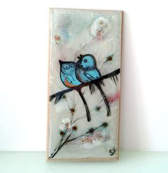 Hand Painted fused glass  birds on a branch by virtulyglass, $39.00