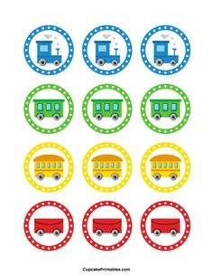 Train cupcake toppers. Use the circles for cupcakes, party favor tags, and more. Free printable PDF download at http://cupcakeprintables.com/toppers/train-cupcake-toppers/