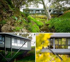 Ooh! What a beautiful house and gorgeous location! I really love the idea that you are over a creek and just part of the landscape with such a small footprint.