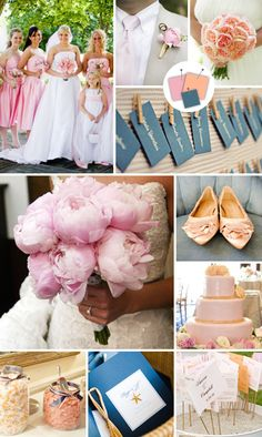 Wedding Color Palettes We Love - Wedding Colors - TheKnot.com | blush + peach + ocean | bridesmaid dresses in ocean would be so pretty! :)