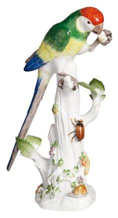 Meissen Parrot on Tree Stump