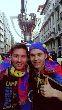 Messi and Iniesta - Barcelona La Liga Champions Parade