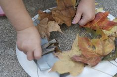 Making an autumn leaf wreath with a paper plate and tape.
