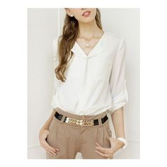 SheIn(sheinside) White Long Sleeve Pockets Chiffon Blouse (48 QAR) ❤ liked on Polyvore featuring tops, blouses, white, long sleeve chiffon blouse, white v neck top, v-neck tops, long sleeve tops and long sleeve blouse