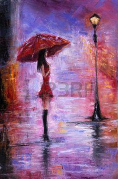 Pintura al óleo original mostrando joven y bella mujer en rojo, sosteniendo el paraguas rojo cerca de una farola sobre lienzo. Impresionismo Moderno, el modernismo, marinismo