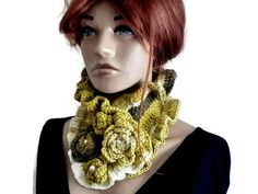 Flower Crochet Neck Warmer Olive Knit Neck Warmer Wool | Etsy Hand Knit Scarf, Cowl Scarf, Crochet Neck Warmer, Crochet Winter, Neck Wrap, Crochet Scarves, Victorian Fashion, Crochet Flowers, Hand Knitting