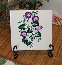 #Painted #Tile #Trivet with #Violet #Flowers #handmade #thecraftstar $20.00