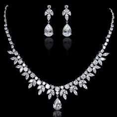 Diamond AAA Zircon Elegant Bridal Teardrop Necklace Earring Set, Wedding Dangle Earring, Bridesmaid Jewelry Set-157421797