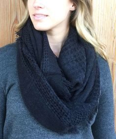 This Black Fringe-Trim Infinity Scarf is perfect! #zulilyfinds