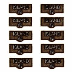 10 Switchplate Tag Antique Solid Brass Island ISLAND Switch Tag Antique B