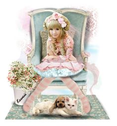 """Kawaii"" by taniucha ❤ liked on Polyvore featuring art, doll, kawaii, dog and cat"