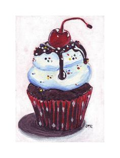 5x7 Acrylic Cupcake Painting Print  Ice Cream Sundae by jojolarue, $12.00