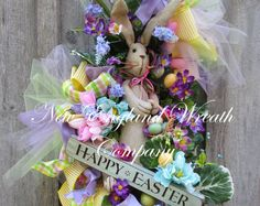 Easter Wreath, Easter Bunny Wreath, Spring Wreath, Whimsical Easter Wreath, Victorian Easter, Designer Easter Wreath, Spring Easter Swag