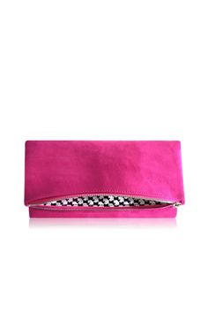 """Amazingly simple and incredibly chic. Made from the finest faux suede, this hand-crafted purse is an irresistible object of sophistication and desire. Elegant, classic designs paired with perfectionist workmanship yield products of unparalleled quality and luxury.    Measures: 11"""" x 6"""" x 1""""   Pink Scottie Foldover by Victoria Khoss. Bags - Clutches - Casual Manhattan, New York City New York City"""