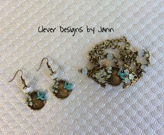 July Challenge .. Birdie bracelet with matching earrings .. I used Iced Enamels on this set .. everything is from B'sue except for the Milk Glass Beads and bead caps .. Clever Designs by Jann .. https://www.etsy.com/shop/CleverDesignsbyJann