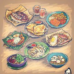 """Makan makan! Drawings for #POSB #neighboursfirstsg :) at http://www.posb.com.sg/personal/neighboursfirst/hawker-hacks.html #illustration #pokpokandaway…"""