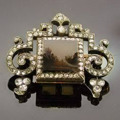antique moss agate jewelry   FABERGE BROOCH WITH ROSE CUT DIAMONDS (image 2 of 6)