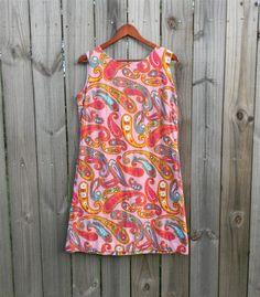 M Medium 1960s Vintage Dress 60s Bright by PinkCheetahVintage, $32.89