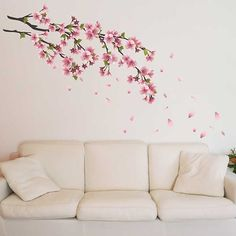 Adesivo de Parede Flor de Cerejeira Flower Wall Decals, Nursery Wall Decals, Living Room Paint, Living Room Decor, Japanese Style Bedroom, Big Girl Bedrooms, Bedroom Wall Designs, Bedroom Green, Dream Rooms
