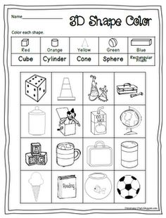 FREEBIE: 3d shapes and color words.