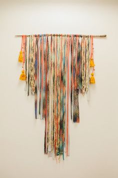 Stripped fabric branch hanging