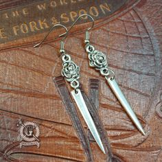 Silver Fork Tine Earrings with Flowers