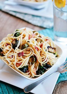 Lemon Cream Linguine with Roasted Brussels Sprouts