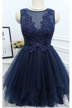 Charming Prom Dress,Navy Blue Tulle Prom Dresses,Elegant Prom Dress,Beaded Prom Gown,Short Homecoming Dress · OKProm · Online Store Powered by Storenvy Cheap Dresses For Teens, Cute Cheap Dresses, Elegant Prom Dresses, Dresses Short, Formal Dresses, Party Dresses, Dance Dresses, Wedding Dresses, Evening Dresses
